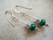 Malachite Stone Silver Plated Costume Earrings