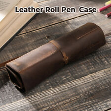 Handmade Genuine Leather Pen Pouch Roll-Up Pencil Case Pen Curtain Storage Bag