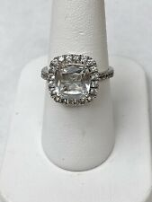 Solid 14k White Gold Cushion Cut 9mm White Spinel with Halo Engagement Ring Sz 7
