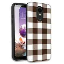 Brown White Plaid Double Layer Hybrid Case Cover For LG Stylo 4