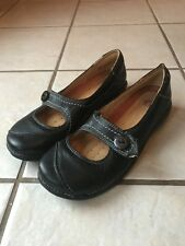 Clark's Unstructured Women's  Black Leather Comfort Mary Janes Walking Shoes 7M