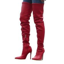 Sexy Thigh High Heel Boots Women's Pull On Pointy Toe Over the Knee Stilettos L