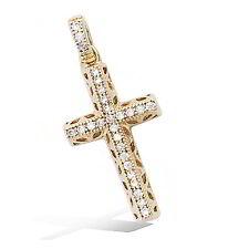 Pendentif Croix Sertie de Diamant  Cz 26mm Plaqué Or 18K 3 Microns Dolly-Bijoux