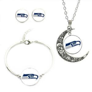 NF04 Seattle Seahawks team logo set -necklace, bracelet, earrings-