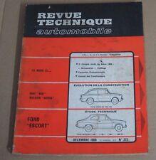 Revue technique  RTA 272 Fiat 850 neckar adria ford escort
