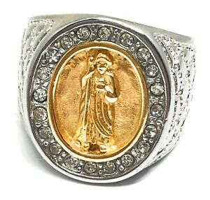 Mens Gold Plated Saint Jude White Gold Ring San Judas Tadeo Anillo Oro Laminado