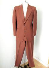 Vgc Vtg 70s Superfly Rusty Brown Poly Knit 2-Pc Disco Pimp Suit Flare Pants 40