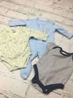 Baby Boy's Bundle Set of 3 Sleepsuit and Vests Blue Green Cotton Newborn