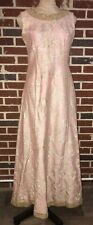 Vintage 60s Pink Gold Metallic Brocade Evening Dress Gown Party Cocktail Maxi M