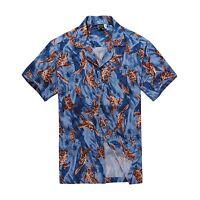 Men Tropical Hawaiian Aloha Shirt Cruise Luau Beach Party Blue Palm Red Turtle