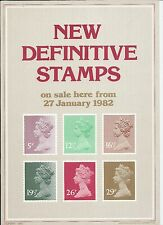 ROYAL MAIL A4 POST OFFICE POSTER-DEFINITIVE-1982 MACHIN 5p to 29p