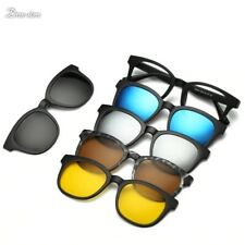 Magnetic Spectacle Rx Glasses Frame With 5+1 Pieces Polarized Sunglasses Clip-on