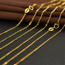 "Real 18K Gold Plated 18"" Cable Chain Necklace Thin Plain For Man Women WW"