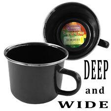Black Enamel Mug KINGFISHER - Camping Festival Hiking Fishing Soup Tea Coffee