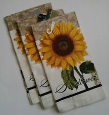 "3 Piece Sunflowers Kitchen Linens Set 3 Printed Velour Dishtowels 15"" x 23"""