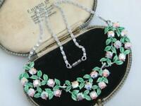 1950s Vintage GLAMOUR ENAMEL AURORA BOREALIS CRYSTAL RHINESTONE GARLAND necklace