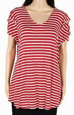 One World Womens Blouse Red US Large L Striped Flutter Sleeve T-Shirt $44 #948