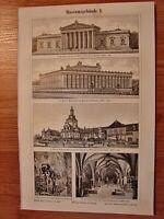 Pariser Architektur Prachtbauten Stich 1892 alter historischer Druck Bildtafel