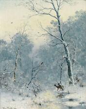Heinrich Gogarten Winter Landscape Deers CANVAS Print Painting Decor Small 8x10