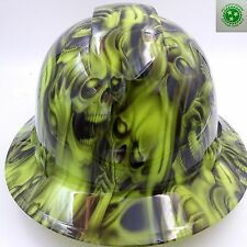 Hard Hat FULL BRIM custom hydro dipped , OSHA approved hear no see no skulls