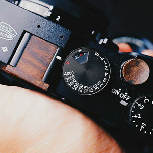 Black Walnut Wooden Wood Shutter Button + Camera Hot Shoe Cover For Fuji X