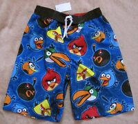 ANGRY BIRDS *Characters* Blue Swim Trunks Shorts  Bath Beach Boys sz 10/12