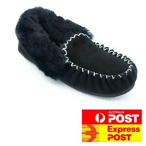 100% Australian Sheepskin Moccasins Slippers - Women's Men's Heel Support Uggs