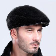 New Winter Men's Genuine Fur Ivy Hat Cap Headgear Beanie Beret Cabbie Earmuff