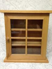 Vintage, Oak Wood-Glass Wall Display Cabinet 18in x 16.5in x 6in