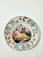 Antique Bavarian Porcelain Plate Woman  Portrait  9""