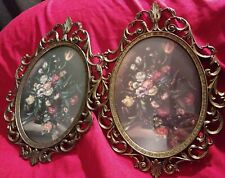 """Lot Of Two Vintage Metal Picture Frame,Convex Glass,Made in Italy.10"""" × 7"""""""