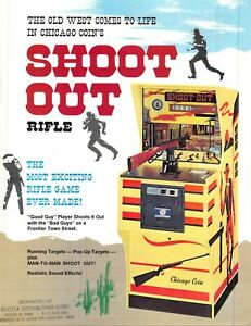 Shoot Out Rifle Arcade Game Vintage Advertising Sales Flyer 1970s 021219AME