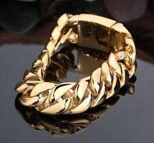 High Quality 18k Gold Stainless steel Biker Curb Chain Bracelet Men 17mm 8.6''