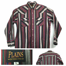 New listing Vtg Plains Western Wear Mens Large (50 in Chest) Red Gray Striped Pearl Snap
