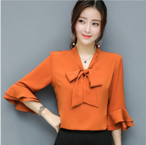 Chic Women's Flared Sleeve Chiffon Shirts Casual Loose Pussy-bow Blouse Tops