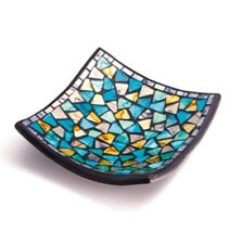 TURQUOISE AND GOLD HANDMADE MOSAIC SQUARE CANDLE PLATE