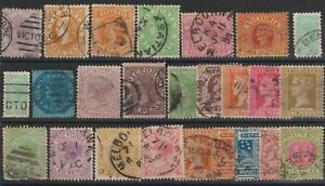 Australia Victoria collection of 25 old postage stamps to be classified from 187