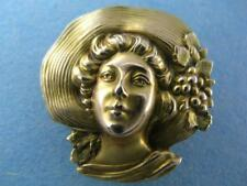 10k Gold Art Nouveau Pin or Watch Chatelaine Holder ~ woman wearing hat