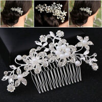Bridal Jewellery Rhinestone Crystal Wedding Flower Pearls Hair Comb Clip Party D