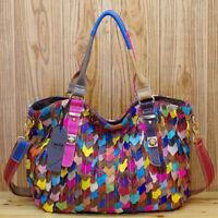 New Designer Genuine Leather Women's Handbag Colorful Patchwork Satchel Tote Bag