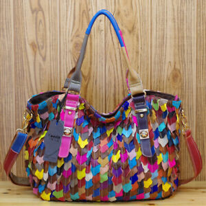New Designer Genuine Leather Women's Handbag Colorful Patchwork Satchel Tote Bag