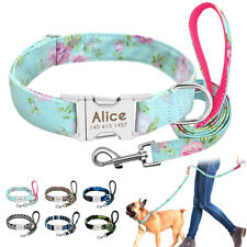 Personalized Dog Collar Custom ID Matching Leash Nylon Laser Engraving Name SML