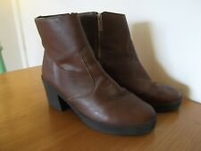 TOPSHOP Brown Faux Leather Ankle Boots with Chunky Block Heels UK Size 9 EU 42