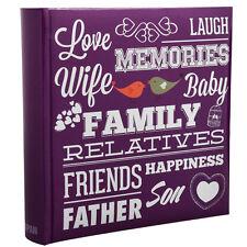 Purple Memo Slip In Family Friends Photo Album 10 x 15 cm For 200 Photos PF200PE