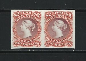 CANADA REVENUE - #FB35 -$2 VERMILLION & LILAC BILL STAMP PLATE PROOF PAIR CARD