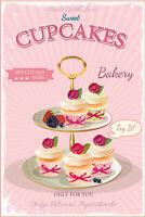Sweet Cupcakes Bakery Blechschild Schild gewölbt Tin Sign 20 x 30 cm CC0113