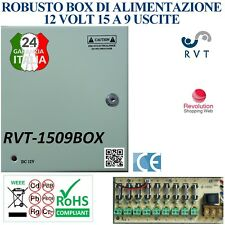 BOX DI ALIMENTAZIONE METALLICO 12 V 15A SPEDIZIONE GRATIS 9 USCITE PROTETTE