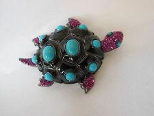 Princess Amanda Borghese Dream Turtle Pin Brooch Enamel & Cabochon & Crystal