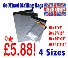 80 Mixed Mailing Bags Strong Grey Plastic Postal Postage Poly 4 Sizes LOT1002