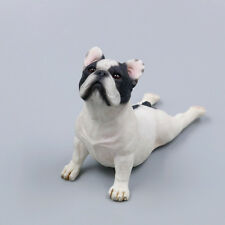 Resin MINI look up French Bulldog Hand Painted simulation model statue WHITE